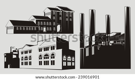 Black and white factory buildings with chimney stacks. Transparent - white-filled version also available. - stock vector