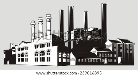 Black and white factory landscape with chimney stacks and various buildings. White-filled (not transparent) - stock vector