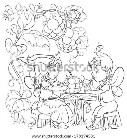 Black and white fairytale illustration two little cute elves lunch in the garden cafe. Coloring page. Also available colored version - stock vector