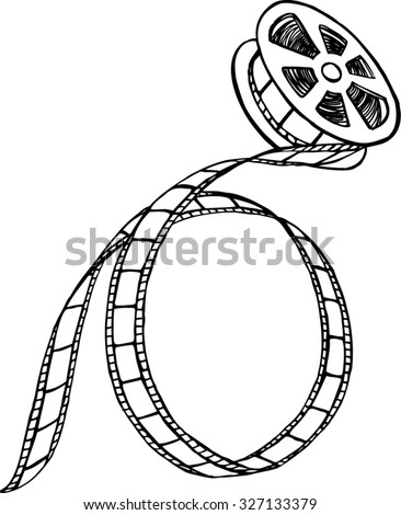 Black and white film strip and reel, hand-drown illustration - stock vector