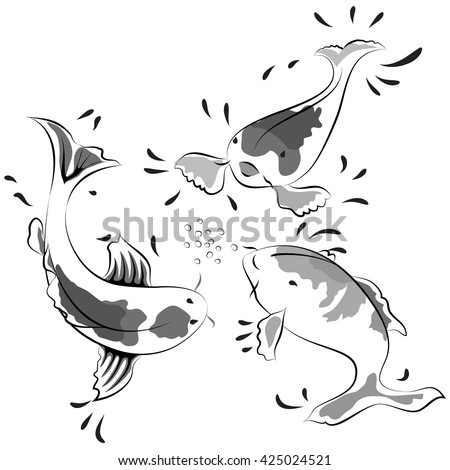black and white  fish on white background
