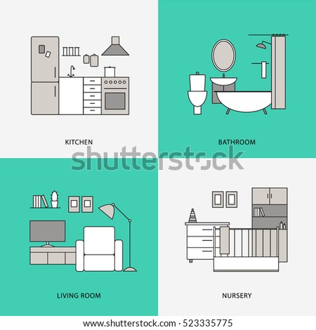 Black And White Flat Line Home Interior Design Icons Kitchen Bathroom Living Room