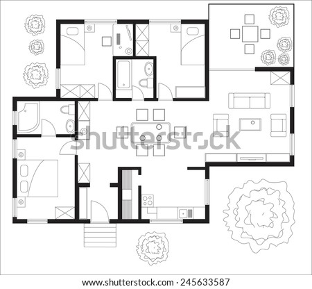 Black White Floor Plan House Stock Vector Shutterstock