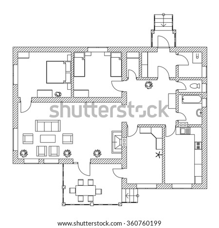 Black and White floor plan of a modern apartment. - stock vector