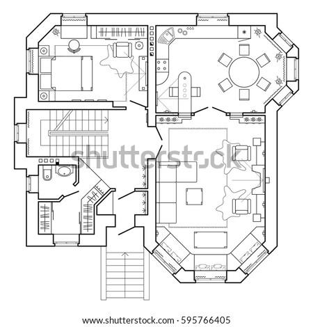 Black White Floor Plan Modern Apartment Stock Vector