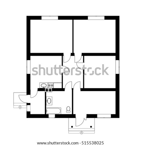House plan 2d stock images royalty free images vectors for Suburban house floor plan