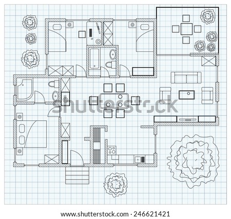 Black and White floor plan sketch of a house on millimeter paper. - stock vector