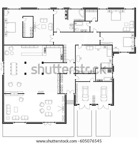 Black White Floor Plans Modern Apartment Stock Vector