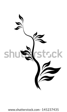 black and white floral abstraction. tree branch - stock vector