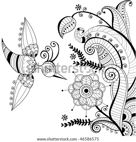 black and white floral decoration and abstract bird - stock vector
