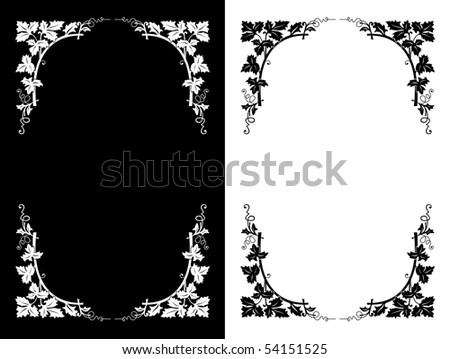 Black and white floral design backgrounds, vector illustration - stock vector