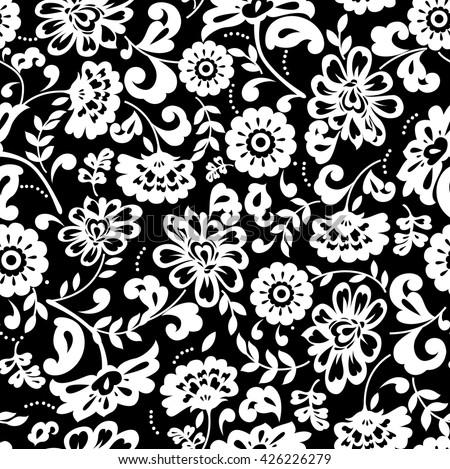 Black And White Vintage Floral 75