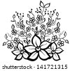 black and white floral pattern design element. Many similarities in the profile of the artist - stock vector