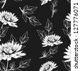 black and white floral seamless pattern with hand drawn flowers. monochrome vector background - stock photo