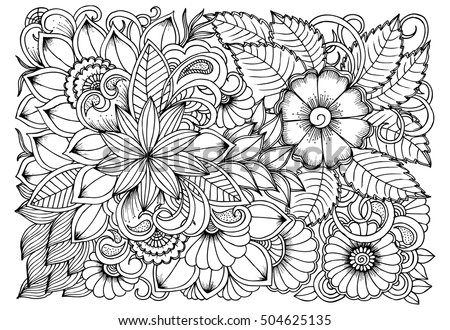 Flower Pattern Vector Doodle Flowers Black Stock Vector