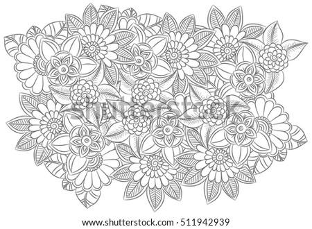 Flowers Set Ethnic Floral Zentangle Black Stock Vector