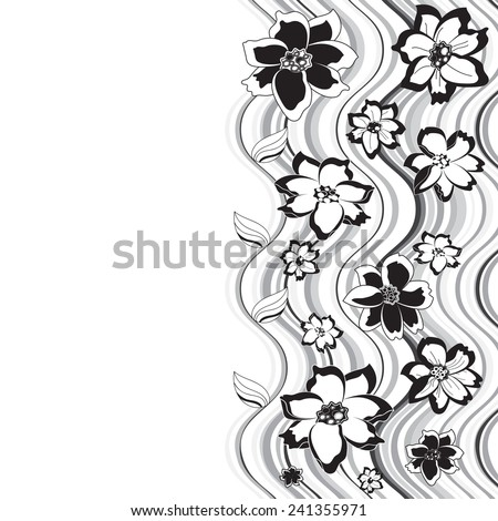 black and white flowers on a background of curved lines, there is a free space, graphics - stock vector
