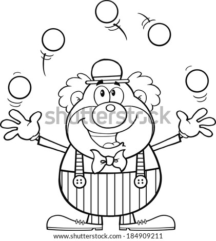 Black and White Funny Clown Cartoon Character Juggling With Balls. Vector Illustration Isolated on white - stock vector