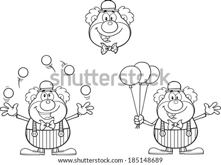 Black and White Funny Clown Cartoon Characters. Vector Collection Set - stock vector