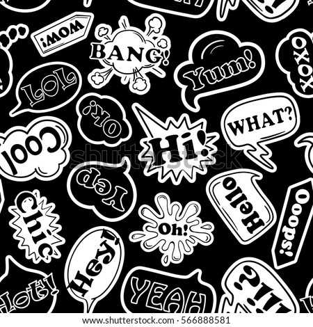 Black and white funny seamless pattern of cartoon speech bubbles and stickers talk bubbles with
