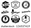 Black and White Gentlemen's Accessories Labels with retro vintage design - stock photo