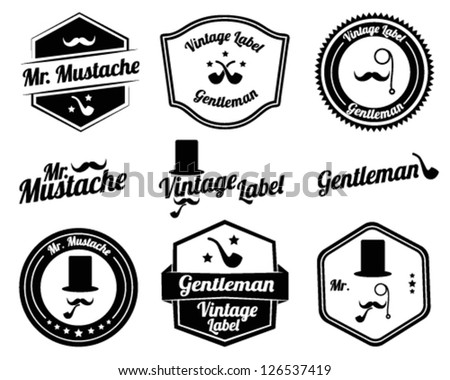 Black and White Gentlemen's Accessories Labels with retro vintage design - stock vector