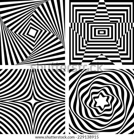 Black And White Geometric Abstract Pattern. Optical illusion. Vector. - stock vector