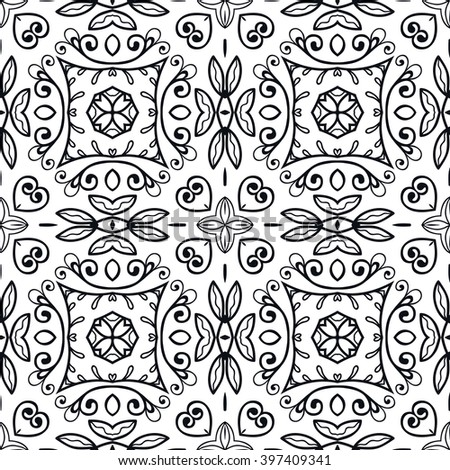 Black and white geometric background seamless pattern, repeating monochrome fabric texture. Tribal ethnic ornament, vector decorative doodle graphic illustration - stock vector