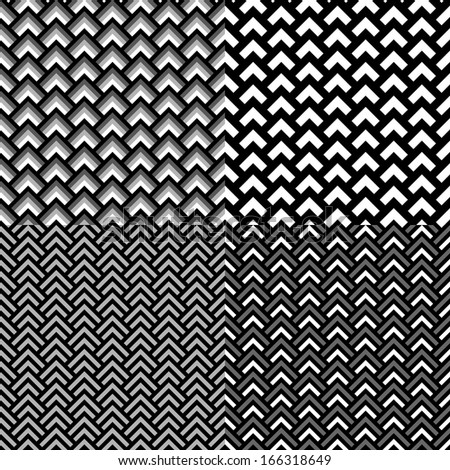 Black and white geometric overlapped squares seamless pattern set, vector - stock vector