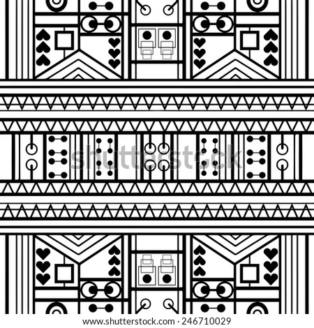 Black and white geometric seamless background. Hand drawn pattern, line artwork. Can be used for card design, wallpaper, pattern fills, web page background, surface textures - stock vector