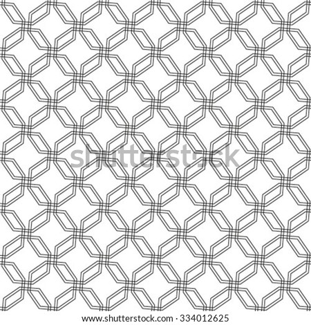Black and white geometric seamless pattern, abstract background, vector. - stock vector