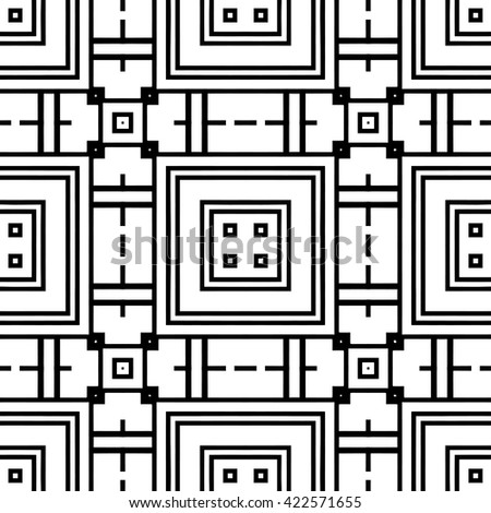 Black and white geometric seamless pattern, monochrome sketch background. Tribal ethnic ornament, decorative doodle pattern with repeating endless texture, vector illustration - stock vector