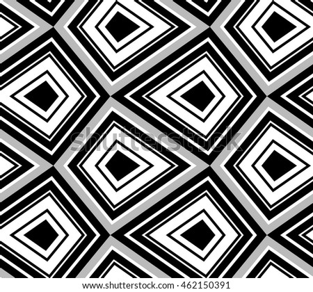 Black and  white geometric seamless pattern. Retro style, illustration