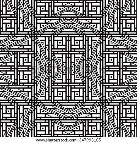 Black and white geometric seamless pattern. Simple regular background. Vector illustration with herringbone or puzzle - stock vector