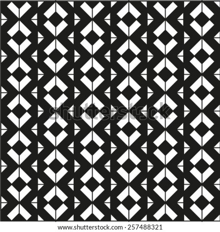 Black and white geometric seamless pattern, symmetric endless vector background.  - stock vector