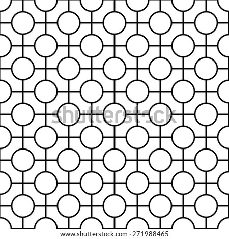 Black and white geometric seamless pattern with line and circle. Abstract background. Vector seamless pattern. - stock vector
