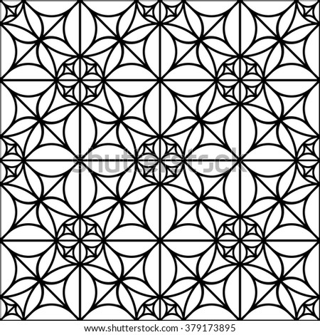 black and white geometric seamless pattern with round shapes - stock vector