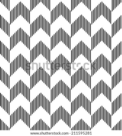 Black and white geometric seamless pattern with stripe and triangle abstract background, vector.