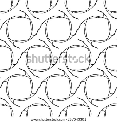 Black and white geometric seamless pattern with tangle line, abstract background, vector, illustration.