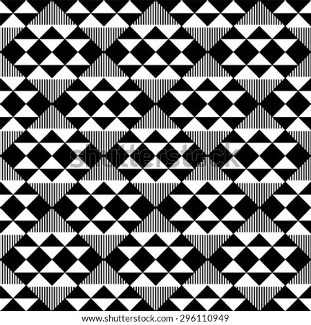 Black and white geometric seamless pattern with triangle, abstract background, vector. - stock vector
