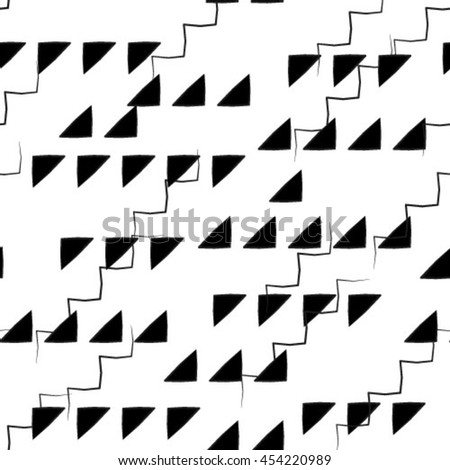 Black and white geometric seamless pattern with triangle, abstract background, vector.