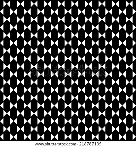 Black and white geometric seamless pattern with triangle and hexagon, abstract background, vector