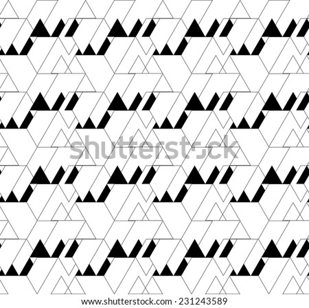 Black and white geometric seamless pattern with triangle and trapezoid, abstract background, vector, EPS10 - stock vector