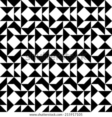 Black and white geometric seamless pattern with triangle trapezoid and square, abstract background, vector, illustration - stock vector