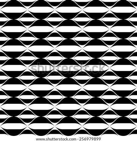 Black and white geometric seamless pattern with wavy stripe line, abstract background, vector, illustration. - stock vector