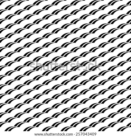 Black and white geometric seamless pattern with wavy stripe stylish, abstract background, vector, illustration. - stock vector