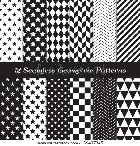 Black and White Geometric Seamless Patterns. Modern Backgrounds in Chevron, Polka Dot, Diamond, Checkerboard, Stars, Triangles, Herringbone and Stripes Patterns. Pattern Swatches with Global Colors. - stock vector