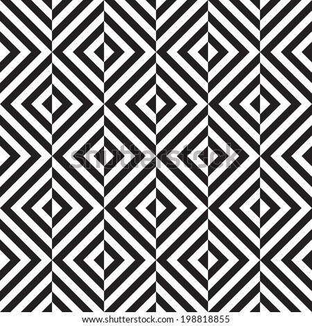 Black and white geometric square seamless pattern, eps 10, vector, illustration. - stock vector