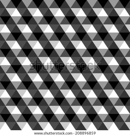 Black and white geometric triangles seamless pattern, vector - stock vector