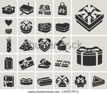 black and white gift boxes vector icons set - stock vector